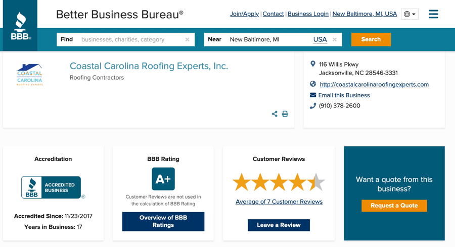 BBB A Rating Reviews Coastal Carolina Roofing