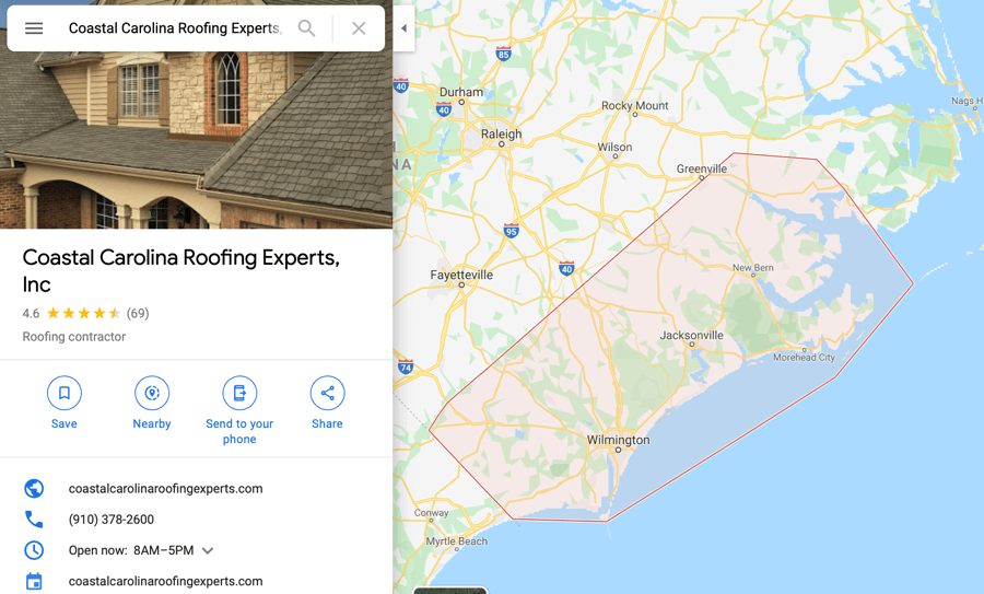 Google Reviews Coastal Carolina Roofing