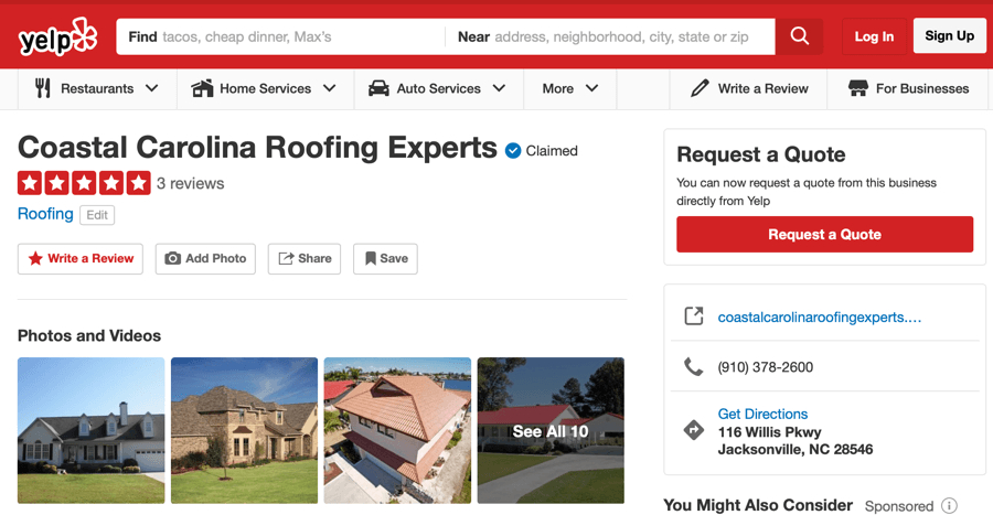 Yelp Reviews Coastal Carolina Roofing